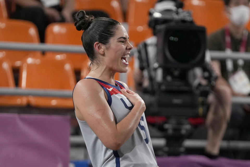 United States' Kelsey Plum celebrates victory over Russian Olympic Committee in a women's 3-on-3 gold medal basketball game at the 2020 Summer Olympics, Wednesday, July 28, 2021, in Tokyo, Japan. (AP Photo/Jeff Roberson)
