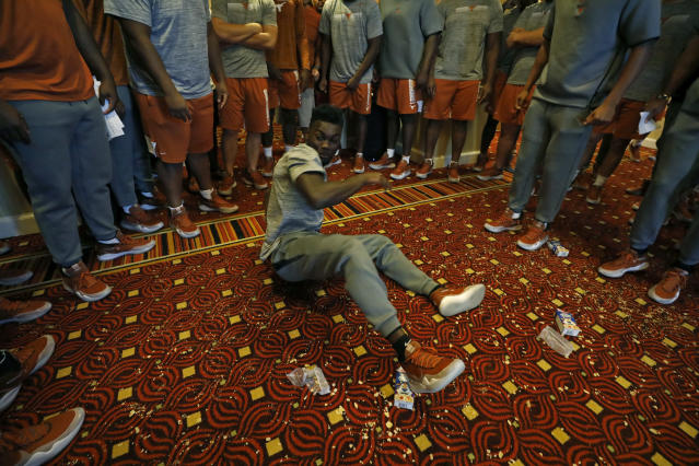 Texas Longhorns' Kobe Boyce dances Saturday Sept. 7, 2019 at the team hotel in Austin, Tx. ( Photo by Edward A. Ornelas )