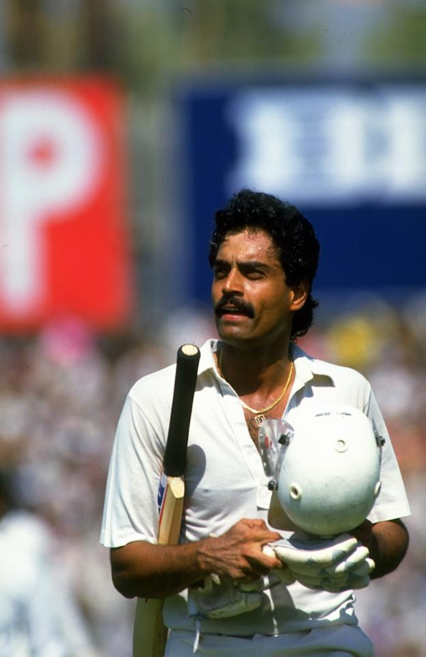 Oct 1987:  Dilip Vengsarkar of India heads back to the pavilion during a World Cup match against Australia in Delhi, India. \ Mandatory Credit: Allsport UK /Allsport