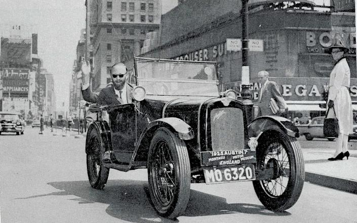 John Coleman in his 1925 Austin 7 in New York, having taken 11 months to drive from Buenos Aires