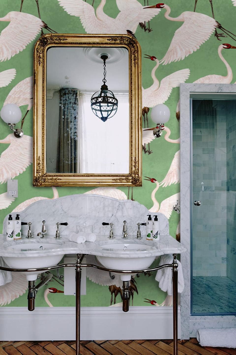 Removable wallpaper in a bathroom