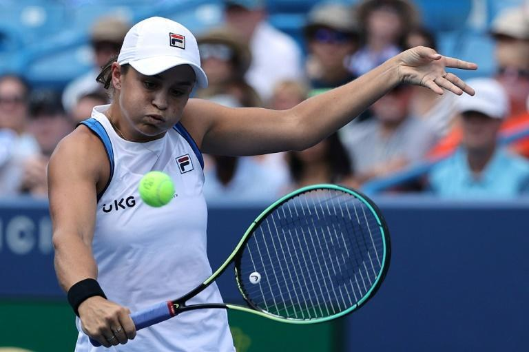 World number one Ashleigh Barty of Australia on the way to victory over Jil Teichmann in the WTA Cincinnati final