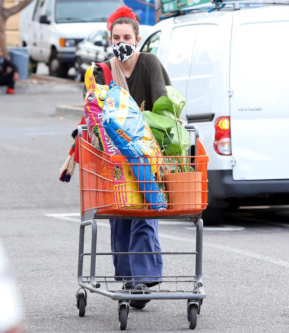 <p>Scout Willis fills her cart during a Thursday trip to Home Depot in L.A. on Thursday.</p>