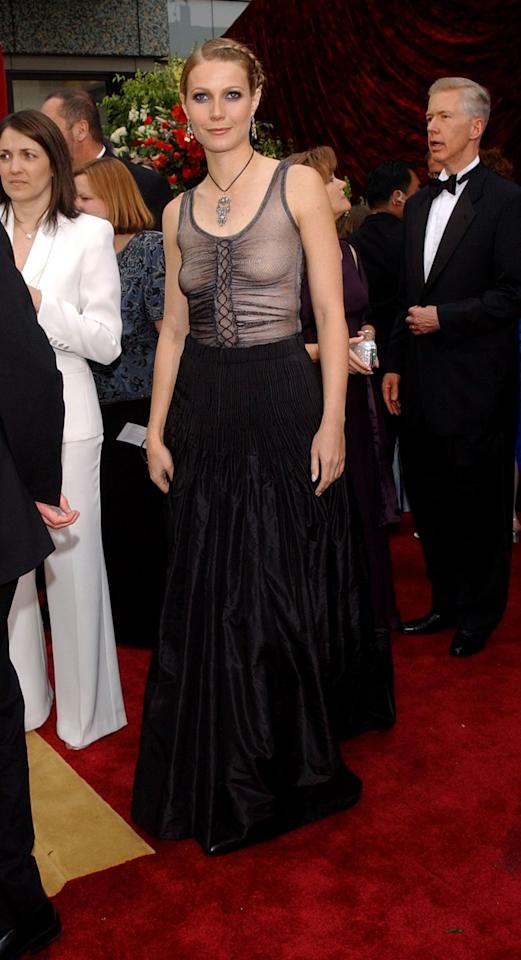 "<p>The recent 2020 Golden Globes wasn't the first time Gwenyth <a href=""https://www.goodhousekeeping.com/life/entertainment/a30406650/gwyneth-paltrow-2020-golden-globes-naked-dress/"" target=""_blank"">donned a naked dress</a>. The actress made jaws drop years before at the 2002 Oscars by going for this goth and braless look that had a <em>lot</em> of people talking.</p><p><strong>RELATED: </strong><a href=""https://www.goodhousekeeping.com/life/entertainment/g5148/oscar-scandals/"" target=""_blank"">All of the Most Scandalous Moments in Oscars History</a> </p>"