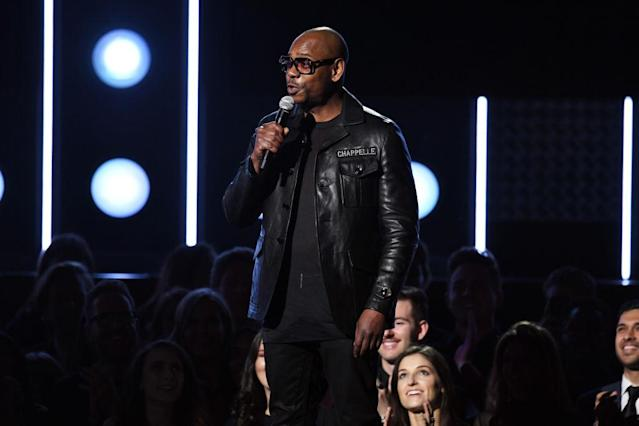 <p>Comedian Dave Chappelle speaks onstage during the 60th Annual Grammy Awards on January 28, 2018, in New York City. (Photo: Getty Images) </p>