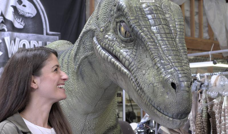 After running for her life, Carly Mallenbaum ultimately makes nice with the velociraptor.