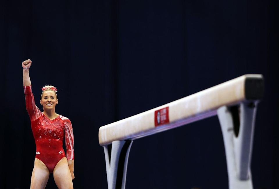 """<p><strong>Age: </strong>24</p><p><strong>Hometown: </strong>Gilbert, AZ</p><p><strong>Event: </strong>Gymnastics</p><p>Ahead of the Games (have we mentioned how MyKayla's participation in them is a HUGE deal!?), she tells us: """"I've been trying to eat three meals a day, so I'm fueling my body with foods that will help me recovery and give me more energy. But sometimes I just love eating snacks!""""<br></p>"""