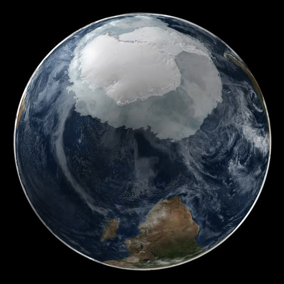 This image shows a view of the Earth on Sept. 21, 2005, when Antarctic sea ice was at its full extent.