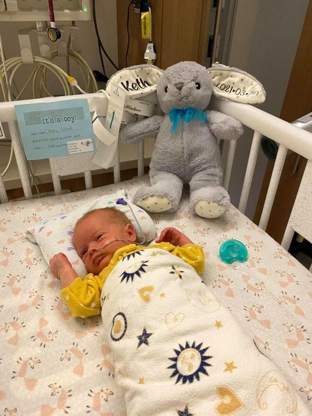 Keith Forbes was born on March 20, six weeks early. His mother, Alexa Forbes, was asymptomatic and tested positive for COVID-19 in hospital. Her doctor told her COVID-19 was at play in Keith's premature arrival. (Submitted by Alexa Forbes - image credit)