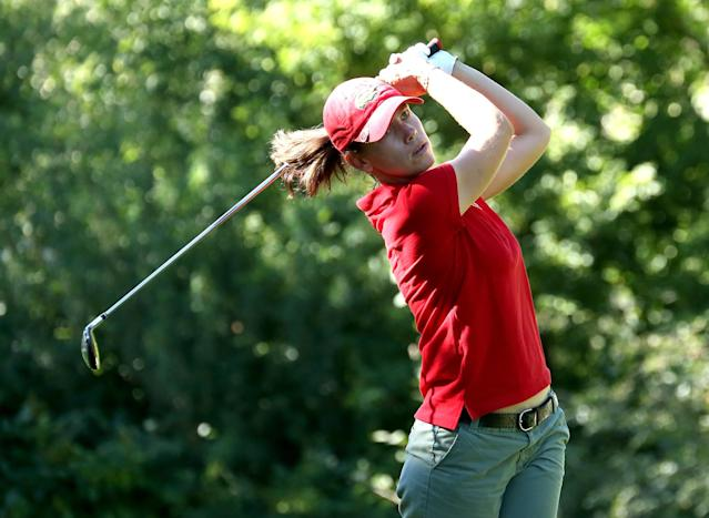 EDMONTON, AB - AUGUST 22: Karine Icher of France hits her tee shot on the fifth hole during the CN Canadian Women's Open at Royal Mayfair Golf Club on August 22, 2013 in Edmonton, Alberta, Canada. (Photo by Stephen Dunn/Getty Images)