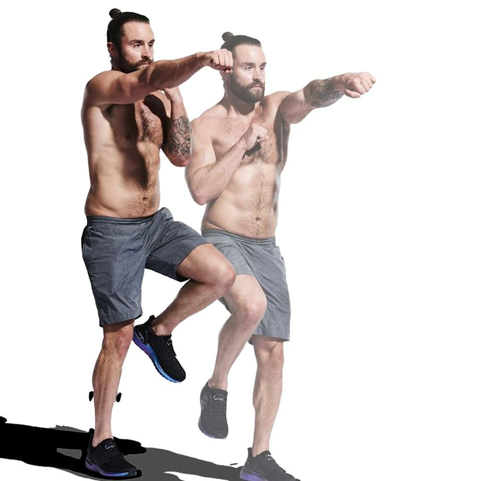 <p>Jog on the spot while lifting your knees as high as possible. Too easy? Throw in a few jabs while you pump your legs.</p>
