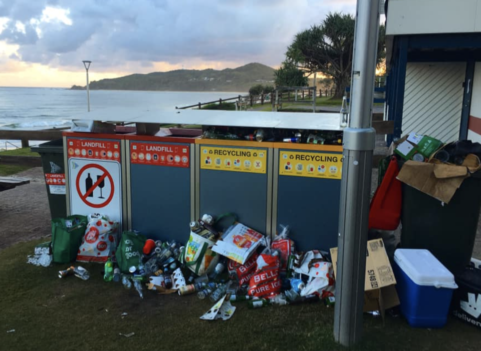 Piles of broken glass and rubbish collected from Apex Park at Byron Bay. Source: Facebook