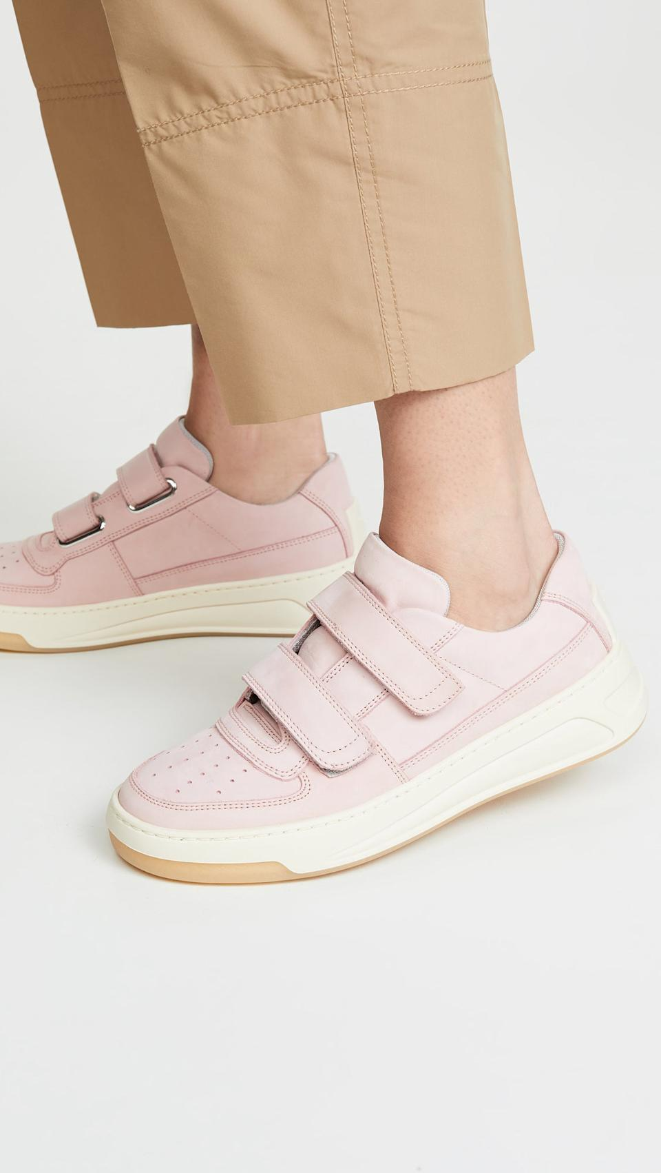 """<h3><a href=""""https://www.shopbop.com/steffey-nubuk-sneaker-acne-studios/vp/v=1/1596264328.htm"""" rel=""""nofollow noopener"""" target=""""_blank"""" data-ylk=""""slk:Acne Studios Steffey Nubuck Sneakers"""" class=""""link rapid-noclick-resp"""">Acne Studios Steffey Nubuck Sneakers</a></h3><br>""""Trainers, for sure! I really like ones with velcro, for easy on and off — mine are Acne Studios!"""" <em>– Sissi, travels a few times per year</em><br><br><strong>Acne Studios</strong> Steffey Nubuck Sneakers, $, available at <a href=""""https://www.shopbop.com/steffey-nubuk-sneaker-acne-studios/vp/v=1/1596264328.htm"""" rel=""""nofollow noopener"""" target=""""_blank"""" data-ylk=""""slk:Shopbop"""" class=""""link rapid-noclick-resp"""">Shopbop</a>"""