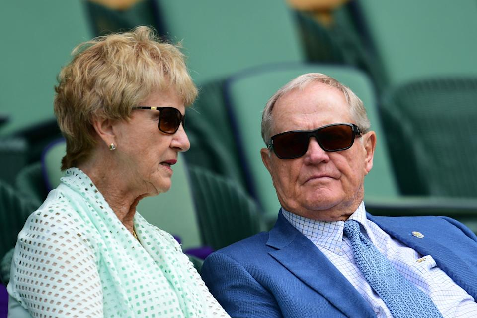 US former golfer Jack Nicklaus (R) and his wife Barbara (L) sit in the centre court crowd to watch US player Serena Williams play Russia's Anastasia Pavlyuchenkova during their women's singles quarter-final match on the ninth day of the 2016 Wimbledon Championships at The All England Lawn Tennis Club in Wimbledon, southwest London, on July 5, 2016. / AFP / GLYN KIRK / RESTRICTED TO EDITORIAL USE (Photo credit should read GLYN KIRK/AFP/Getty Images)