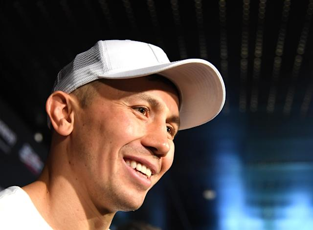 Gennady Golovkin speaks to the media at a public workout on Aug. 26 at the Banc of California Stadium on Aug. 26 in Los Angeles as he prepares for his Sept. 15 rematch for the middleweight title with Canelo Alvarez. (Getty Images)