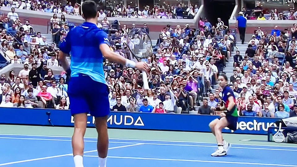 Novak Djokovic, pictured here after deciding against whacking the ball in anger.