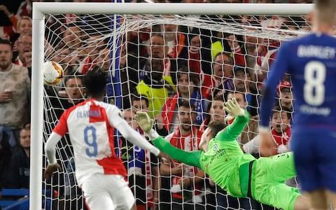 Chelsea goalkeeper Kepa Arrizabalaga dives but fails to stop Slavia's Petr Sevcik's second goal, and his team's third, during the Europa League quarterfinal, second leg, soccer match between Chelsea and Slavia Prague at Stamford Bridge stadium in London, Thursday, April 18, 2019 - Credit: AP