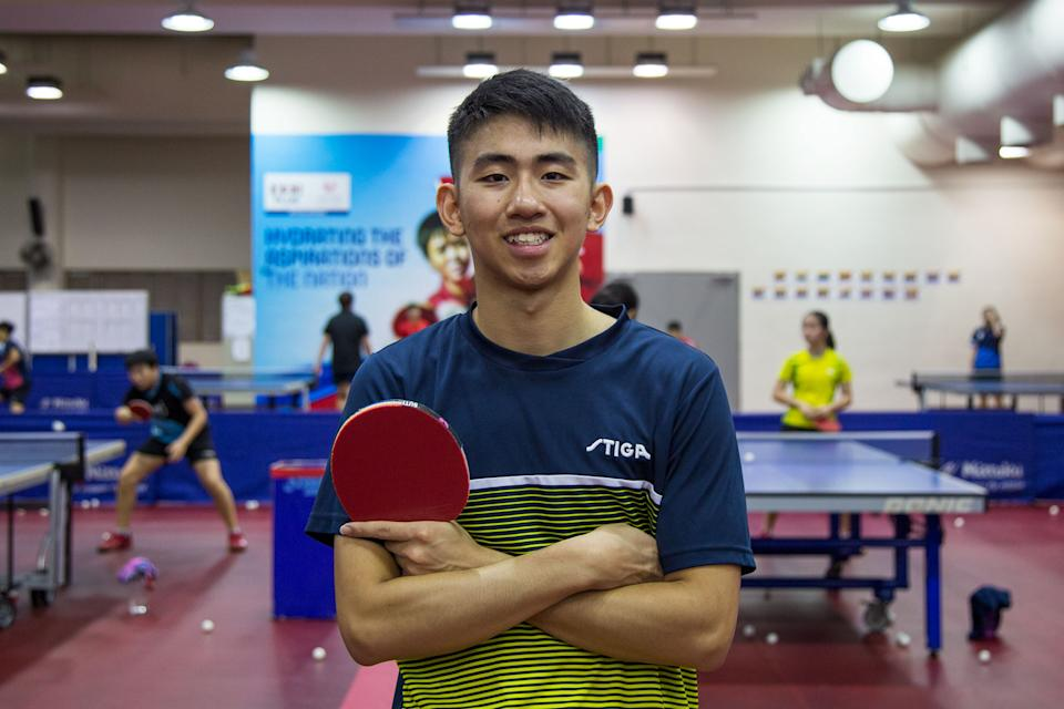 """Singapore paddler Koen Pang reached the top of the junior world ranking in August, the first Singaporean to achieve the feat. He went on to earn the men's singles gold at the SEA Games on 10 December. Read our story: <a href=""""https://bit.ly/2ZxRFbl"""" rel=""""nofollow noopener"""" target=""""_blank"""" data-ylk=""""slk:https://bit.ly/2ZxRFbl"""" class=""""link rapid-noclick-resp"""">https://bit.ly/2ZxRFbl</a> (PHOTO: Dhany Osman/Singapore)"""