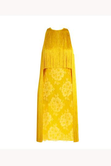 Have fun with fashion in this canary Stella McCartney fringe and lace dress