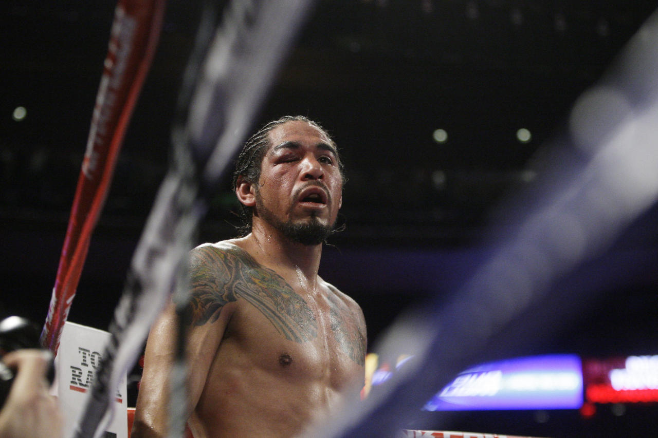 Antonio Margarito, of Mexico, looks on during the eighth round of an WBA World Junior Middleweight Championship boxing match against Miguel Cotto, of Puerto Rico, Sunday, Dec. 4, 2011 in New York. Cotto defeated Margarito with a TKO decision amid confusion in the corner before they came out for the 10th round. (AP Photo/Frank Franklin II)