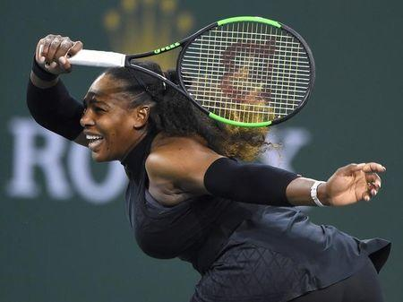 Serena Williams (USA) during her first round match against Zarina Diyas (not pictured) at the BNP Paribas Open at the Indian Wells Tennis Garden. Mandatory Credit: Jayne Kamin-Oncea-USA TODAY Sports