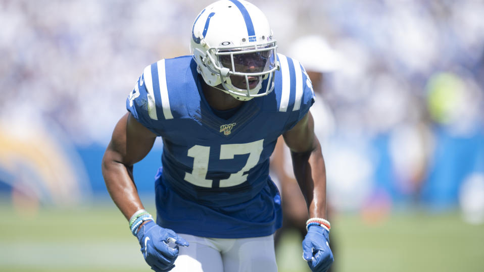 Indianapolis Colts wide receiver Devin Funchess during an NFL football game against the Los Angeles Chargers, Sunday, Sept. 8, 2019, in Carson, Calif. (AP Photo/Kyusung Gong)