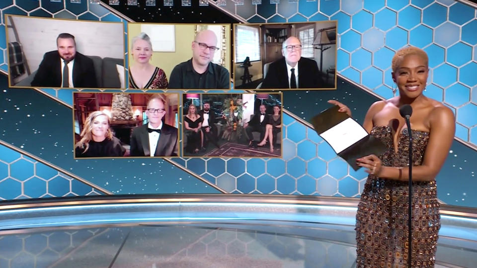 UNSPECIFIED: 78th Annual GOLDEN GLOBE AWARDS -- Pictured in this screengrab released on February 28, (l-r) Best Motion Picture – Animated nominees Joel Crawford, Dan Scanlon, Glen Keane, Dana Murray, Pete Docter, Tomm Moore, and Ross Stewart and presenter Tiffany Haddish speak during the 78th Annual Golden Globe Awards broadcast on February 28, 2021. -- (Photo by NBC/NBCU Photo Bank via Getty Images)