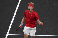 Team World's Denis Shapovalov, of Canada, celebrates a point during his match against Team Europe's Daniil Medvedev, of Russia, during Laver Cup tennis, Saturday, Sept. 25, 2021, in Boston. (AP Photo/Elise Amendola)