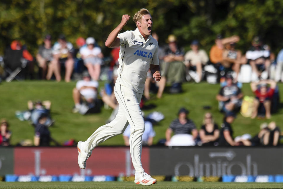 New Zealand bowler Kyle Jamieson celebrates after taking a wicket during play on the first day of the second cricket test between Pakistan and New Zealand at Hagley Oval, Christchurch, New Zealand, Sunday, Jan 3. 2021. (John Davidson/Photosport via AP)