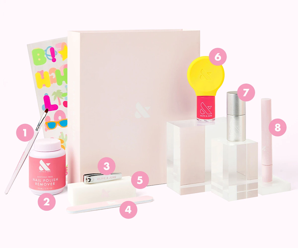 """<h3><h2>Olive & June The Mani System</h2></h3><br>If you live in L.A., you may already know the joy that is an <a href=""""https://www.refinery29.com/en-us/la-best-nail-salons"""" rel=""""nofollow noopener"""" target=""""_blank"""" data-ylk=""""slk:Olive & June manicure"""" class=""""link rapid-noclick-resp"""">Olive & June manicure</a>. For the rest of us, this system — with the brand's clippers, cuticle oil, and <a href=""""https://www.refinery29.com/en-us/2019/03/226916/olive-june-spring-nail-polish-collection"""" rel=""""nofollow noopener"""" target=""""_blank"""" data-ylk=""""slk:handy Poppy polish attachment"""" class=""""link rapid-noclick-resp"""">handy Poppy polish attachment</a>, among other goodies — is the next best thing.<br><br><strong>Olive & June</strong> The Mani System, $, available at <a href=""""https://go.skimresources.com/?id=30283X879131&url=https%3A%2F%2Foliveandjune.com%2Fproducts%2Fthe-mani-system"""" rel=""""nofollow noopener"""" target=""""_blank"""" data-ylk=""""slk:Olive & June"""" class=""""link rapid-noclick-resp"""">Olive & June</a>"""