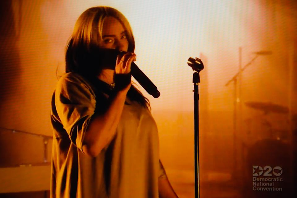 Singer Billie Eilish performs during the virtual 2020 Democratic National Convention, livestreamed online and viewed on a laptop screen from London, England, on August 20, 2020. The four-day event is taking place almost wholly remotely in response to the coronavirus pandemic. The convention last night saw former US Vice President Joe Biden formally nominated to lead the Democrats challenge against President Donald Trump and the Republican Party this autumn. The US presidential election is to take place on November 3. (Photo by David Cliff/NurPhoto via Getty Images)
