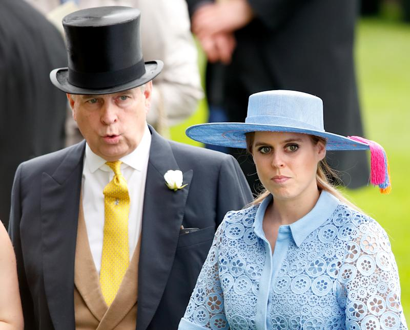 ASCOT, UNITED KINGDOM - JUNE 18: (EMBARGOED FOR PUBLICATION IN UK NEWSPAPERS UNTIL 24 HOURS AFTER CREATE DATE AND TIME) Prince Andrew, Duke of York and Princess Beatrice attends day one of Royal Ascot at Ascot Racecourse on June 18, 2019 in Ascot, England. (Photo by Max Mumby/Indigo/Getty Images)