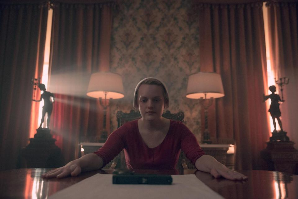 """The Handmaid's Tale -- """"Mayday"""" - Episode 313 -- With her plan in place, June reaches the point of no return on her bold strike against Gilead and must decide how far she's willing to go. Serena Joy and Commander Waterford attempt to find their way forward in their new lives. June (Elisabeth Moss), shown."""