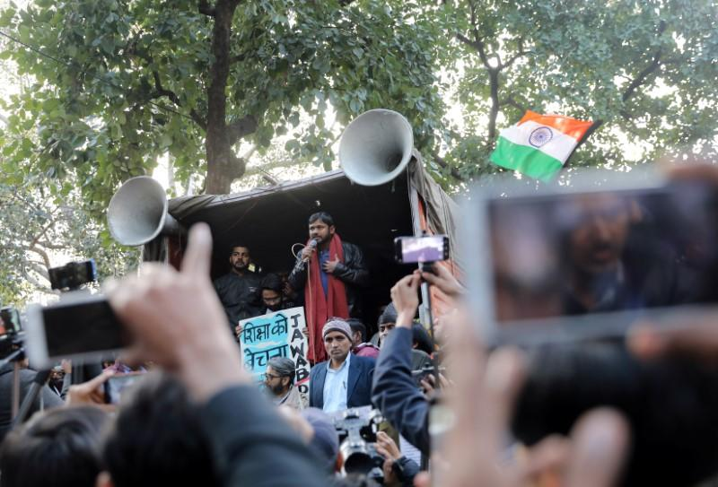 India's left-wing youth leader Kanhaiya Kumar addresses people during a protest against the attacks on the students of Jawaharlal Nehru University, in New Delhi