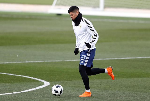 Soccer Football - Argentina Training - Valdebebas Training Grounds, Madrid, Spain - March 24, 2018 Argentina's Marcos Rojo during training REUTERS/Juan Medina