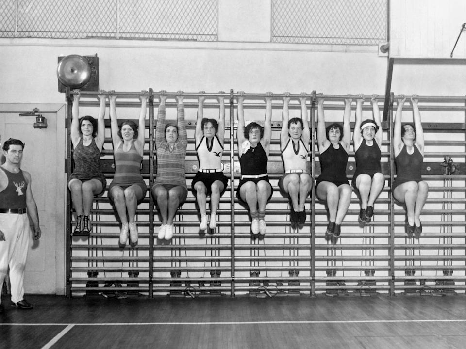 Wives of the members of the Philadelphia Elks organization workout at the club gym.