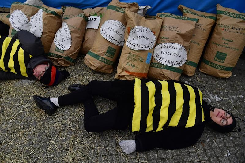 Demonstrators dressed as bees stage 'die-in' as a protest against chemicals giants Bayer and Monsanto