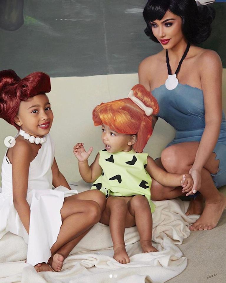 Meet the Flintstones - another TV-famous family!  Kim was dressed as Betty Rubble, North as Wilma Flintstone and Chicago as Pebbles Flinstone.