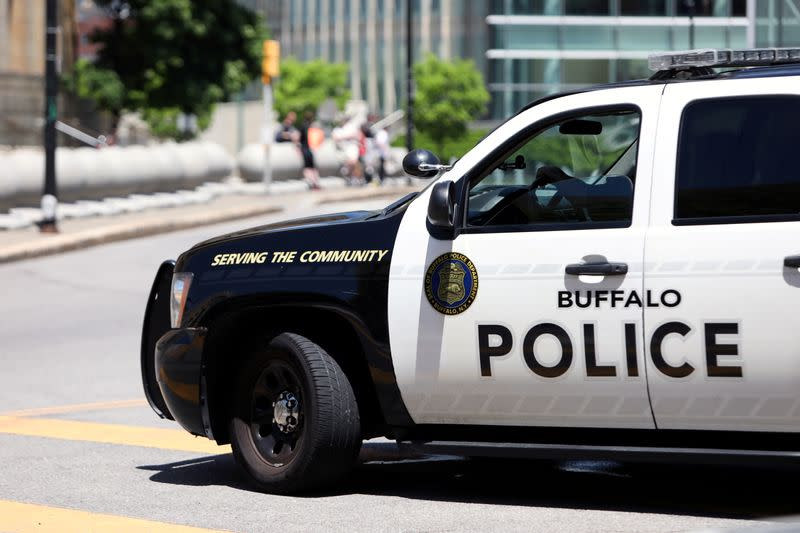 A view shows a Buffalo Police vehicle parked in front of the city hall before a protest against the death in Minneapolis police custody of George Floyd, in Niagara Square, in Buffalo