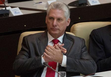 Newly elected Cuban President Miguel Diaz-Canel is seen during the National Assembly in Havana