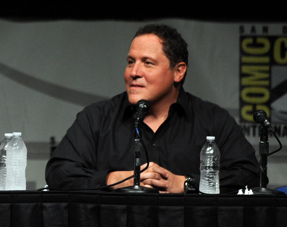"""SAN DIEGO, CA - JULY 14:  Actor Jon Favreau speaks at Marvel Studios """"Iron Man 3"""" panel during Comic-Con International 2012 at San Diego Convention Center on July 14, 2012 in San Diego, California.  (Photo by Kevin Winter/Getty Images)"""