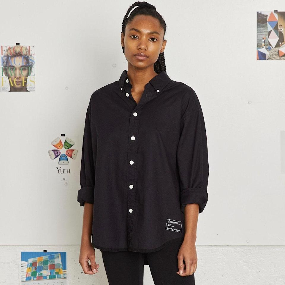 """A black button-down shirt lends instant polish to even the most laidback looks, with little to no effort required. $125, Entireworld. <a href=""""https://theentireworld.com/women/product/shirt-mens-type-a-version-11-black-w"""" rel=""""nofollow noopener"""" target=""""_blank"""" data-ylk=""""slk:Get it now!"""" class=""""link rapid-noclick-resp"""">Get it now!</a>"""
