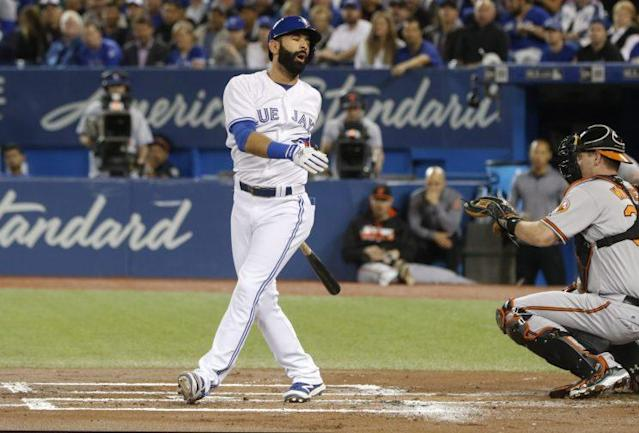 Jose Bautista struck out three times in Thursday's loss. (The Canadian Press via AP)