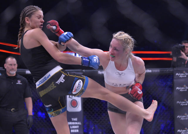 Heather Hardy (R), shown fighting Kristina Williams at Bellator 185 in October, faces Ana Julaton on Friday at Bellator 194 at Mohegan Sun. (Getty Images)