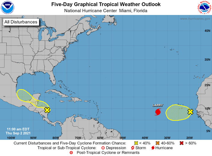 Neither of the two disturbances in the Atlantic Basin have high chances for development anytime soon.
