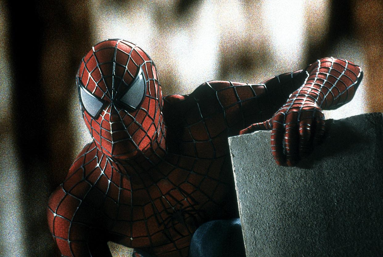 Spiderman in a scene from the film 'Spiderman', 2002. (Photo by Columbia Pictures/Getty Images)