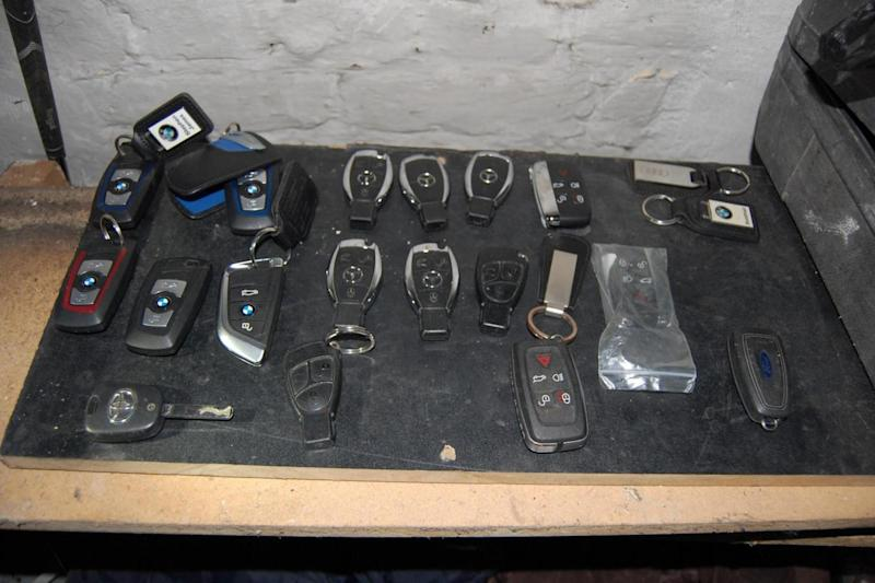 Nicked: Some of the car keys found by police in east London raids. (Met Police)