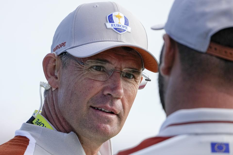 Team Europe captain Padraig Harrington is seen during a four-ball match the Ryder Cup at the Whistling Straits Golf Course Saturday, Sept. 25, 2021, in Sheboygan, Wis. (AP Photo/Jeff Roberson)