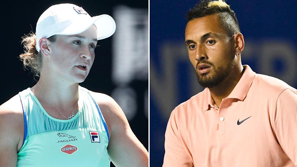 Seen here, Aussie tennis stars Ash Barty and Nick Kyrgios.