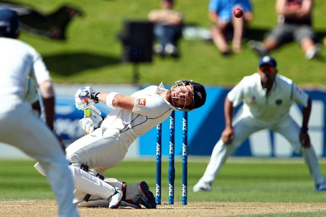 WELLINGTON, NEW ZEALAND - FEBRUARY 17: Brendon McCullum of New Zealand ducks under a bouncer during day four of the 2nd Test match between New Zealand and India on February 17, 2014 in Wellington, New Zealand. (Photo by Hagen Hopkins/Getty Images)